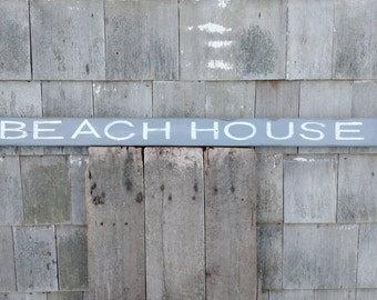 Beach House sign hand-painted rustic distressed on reclaimed pine wood READY 2 SHIP