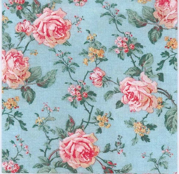 Decoupage Paper Napkins Pink Roses on Blue Rose Napkins