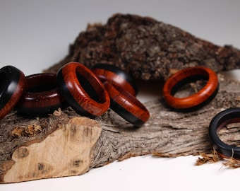 Padauk and ebony wood ring