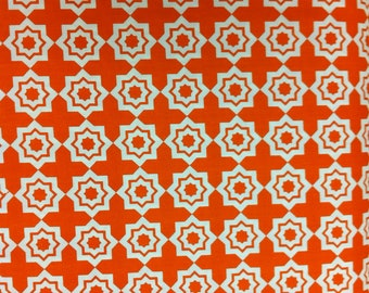 "Khristian Howell Geometric Orange & White ""Moroccan Mirage"" Printed 100% Cotton Fabric"