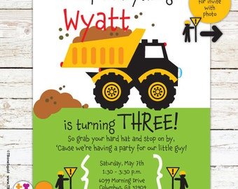 Construction, Truck, Dump Truck, Birthday, Party, Invitation, for boys