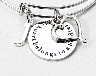 My Heart Belongs To A Soldier, Stainless Steel Charm, Personalized, Initial,  Swirl Heart  Charm Bangle, Gift For Her, Deployment, Military