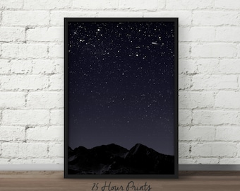 Instant Download Night Sky Art Print - Printable Art - Digital Prints - Starry Night - PDF Download