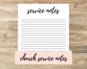 Church Service Notes: Bullet Journal Printable