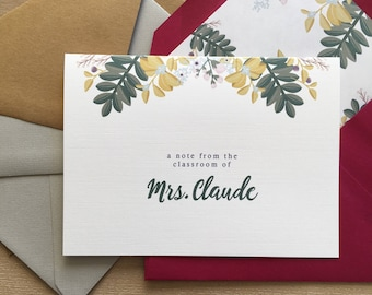Beautiful, Personalized Floral Teacher Stationery - Set of 10