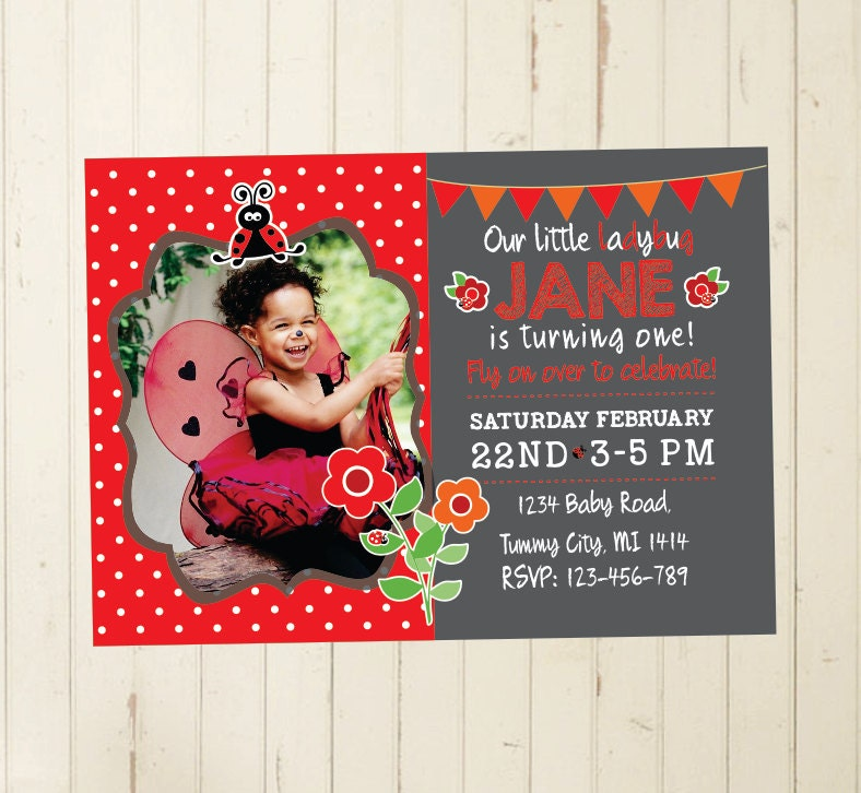 ladybug invitation first birthday girl 2nd birthday girl 3rd