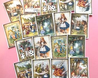 Alice in Wonderland Stickers - Set of 18 - Handmade Stickers, Vintage Style, Vintage Alice in Wonderland, Cute Planner Stickers, Story Book