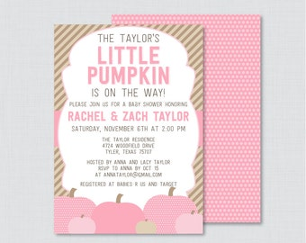 Little Pumpkin Baby Shower Invitation Printable or Printed - Pink Pumpkin Baby Shower Invite, Fall Baby Shower Invitation Girl Invite 0035-P