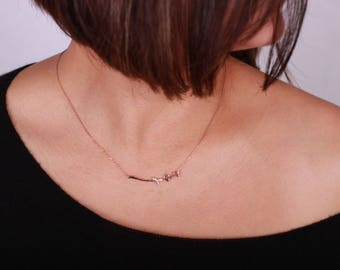Twig Necklace / 14K Solid Gold