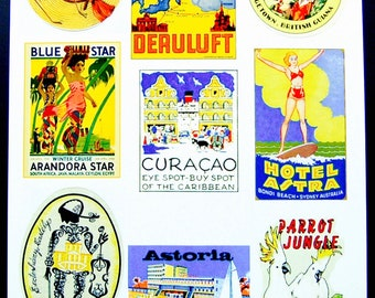Vintage Luggage Label Images Paper, on Card Stock 8.5 X 11 Sheet Y-3, NOT Digital