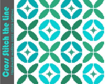 Retro cross stitch pattern inspired by floral tiles. Contemporary embroidery chart. Mid Century modern design.