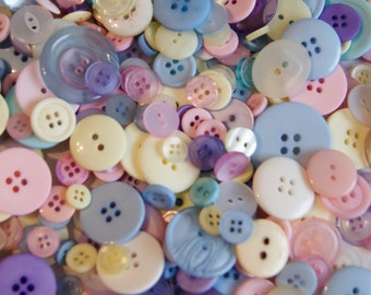 50 Pastel Buttons Nursery Room Mix Buttons - Blue, Pink, Yellow, Lavender, Green Mix   Grab Bag Crafting Jewelry Collect (897 -)