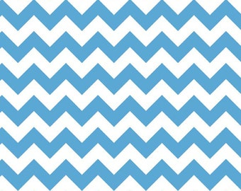 Riley Blake Small Chevron in Medium Blue - you choose the cut