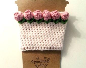 Rosebud Cup Cozy, Flower Java Jacket, Pink and Cream Cup Sleeve, Crochet Coffee Cozy