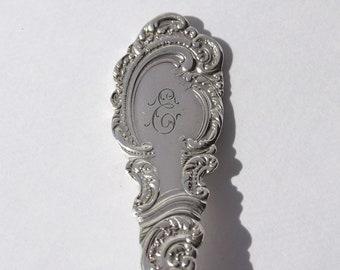 Vintage Spoon Key Chain, Spoon Key Ring, Spoon Keychain, Aldine Pattern, Monogrammed E