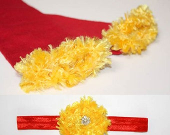 Red and Gold Kansas City Chiefs 49ers Cyclones Baby Leg Warmers and Headband Set