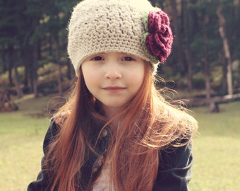 Girls Crochet Hat / Girls Winter Hat / Baby Girl Hat / Girls Christmas Hat / Crochet Baby Hat / Girls Hat / Gift For Girls / Girls Beanie