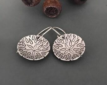Sterling Silver earrings, Beej mandala Earrings, dangle, disc earrings, gift, spiritual jewelry