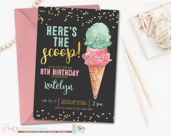 Ice Cream Birthday Invitation, Ice Cream Invitation, Ice Cream Birthday Party, Ice Cream Social Invitation, Pink and Mint Invitation