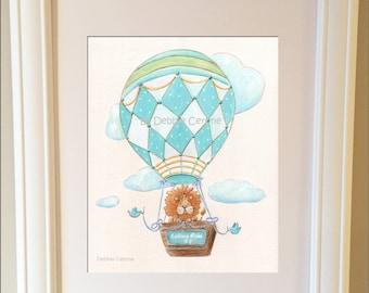 Nursery Print, Custom Art, Personalized, Boy Baby Shower Gift, Teal Aqua Nursery Decor, Lion Poster, Hot Air Balloon Travel Theme, 6 Sizes