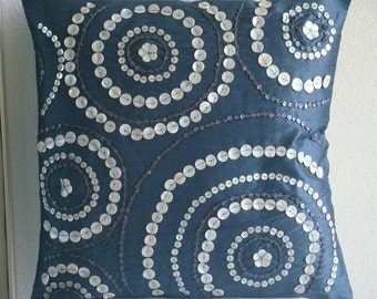 "Handmade Blue Throw Pillows Cover, 16""x16"" Silk Pillowcase, Square  Spiral Mother Of Pearls Pillowcases - Midnight Moon"