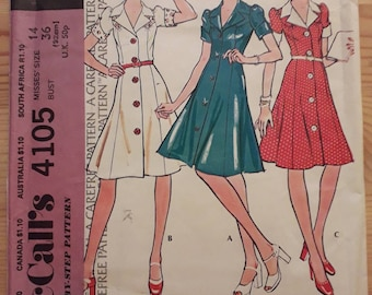 A Vintage 1970s Mccalls Sewing Pattern for dress No.4105 Size 14 Bust 36