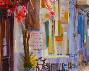 GREEK BISTRO art print of an original oil painting, street scene, purple and yellow, pink bougainvillea