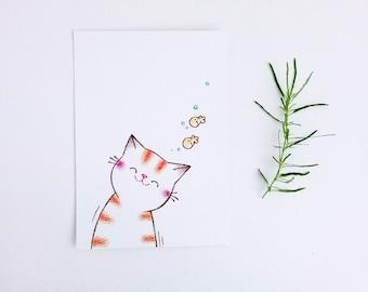 Cat Illustration, Postcard, Art Print, Cat, Nursery Decor Cat, Cat Lover Gift - Smiling Kitty