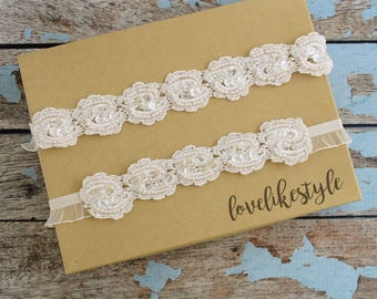 Wedding Garter Set, Ivory  Embroidery Flower Lace Wedding Garter Set, Ivory Vintage Style Wedding Garter
