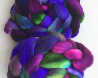 Merino combed top roving hand dyed spinning felting fiber indie dyed variegated 4oz 'I Cant Feel My Face'