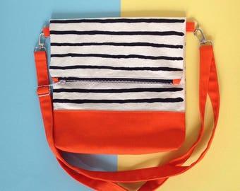 Screenprint Colour block Folding Crossbody bag - Striped pattern - Orange