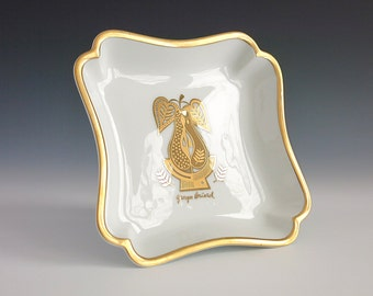 Georges Briard Gold on White China Dish - Georges Briard Forbidden Fruit Nut Dish - Georges Briard Pear Serving Dish - Mid Century Decor