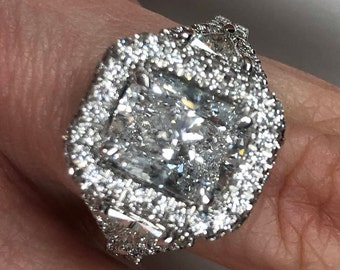 Cushion Cut Diamond Engagement Ring, Trillion Brilliant Cut Side Diamonds, 3.81ct Ring, 18k White Gold, Halo Set, Past Present Future