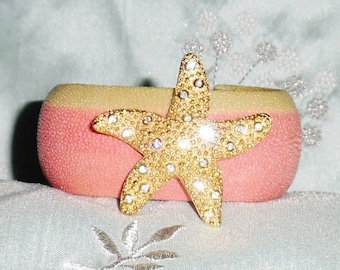 "GENUINE Exotic Stingray Peach, Tan Polished Exotic Leather, Signed Swarovski Crystal Starfish Brooch, 1 1/4"" Cuff Bracelet"