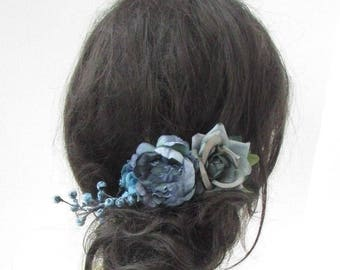 Teal Petrol Blue Rose Berry Flower Hair Comb Fascinator Bridesmaid Floral 5145