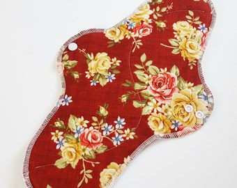 Mama Cloth Pad With Wings - 14 inches Postpartum Heavy Flow - Dark Burgundy with Roses FREE SHIPPING