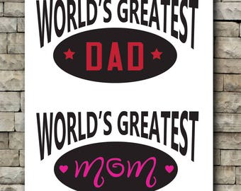 Worlds greatest Mom/Worlds Greatest Dad/ vinyl decal/2 color decal/Car decal/tumbler decal/mom/dad/mothers day/fathers day