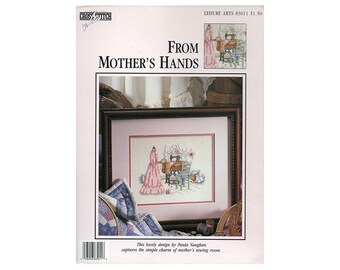 From Mother's Hands Cross Stitch Card, Paula Vaughan, Sewing Room Cross Stitch, Paula Vaughan Designs, Leisure Arts Card, NewYorkTreasures