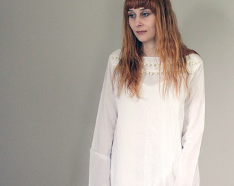 SALE Vintage White Cotton Sheer Mini Dress/Beach Cover Up with Pom Pom Trim - Small/Medium