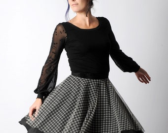 Flared black and grey skirt in black crepe and houndstooth patterned tulle ALL SIZES, MALAM