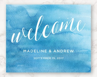 Printable Wedding Sign - Bright Blue Watercolor - Welcome Sign - DIY Printing