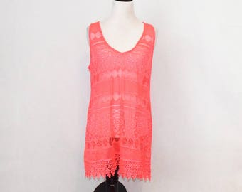 Hot Pink Lace Swimsuit Coverup / V-Neck Tank Top / Brand New with Tags / Bathing Suit Cover