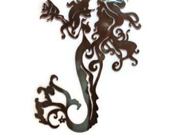 "Nautical Marine Mermaid Metal Wall Art - 30"""