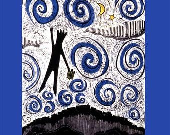 The Journey, a original linocut illustration on a blank greeting card, frameable illustration, 5 x 7 art print