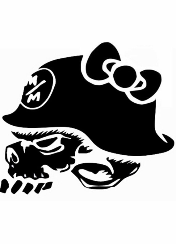 Metal Mulisha Skull And Helmet With Bow Vinyl Decal