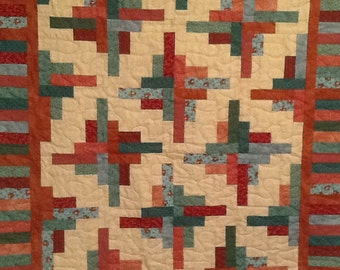 Rust, Green and Beige Lap Quilt