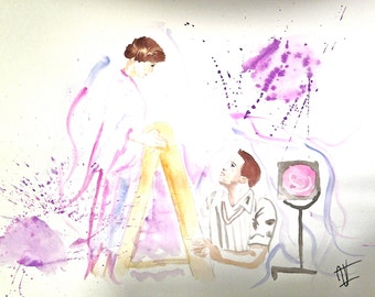 Musical movie watercolor