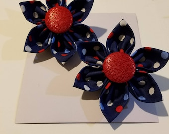 Red white and blue flower pin