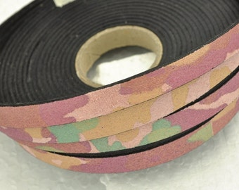 """10mm Camouflage Flat Leather  - Pink - 2 feet/24"""""""