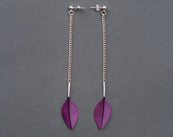 Stylish Dangle Small Leaf Feather Earrings on Long Chain and Silver Studs in Shiny Royal Purple